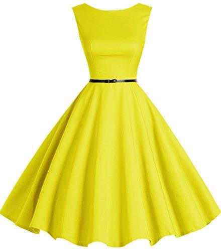 Bbonlinedress 50s Retro Schwingen Vintage Rockabilly kleid Faltenrock Yellow M