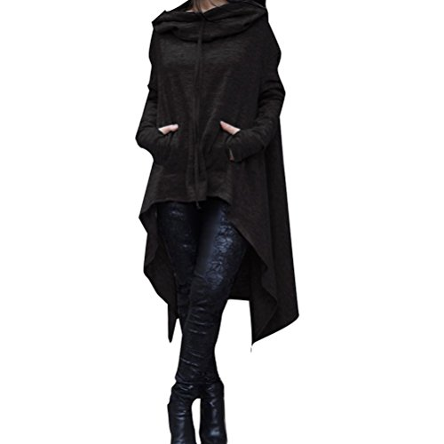 Zhhlinyuan Heiße Angebote Leisure Long Hooded Ladies Sweater Irregular Hem Special Design Shirt Tops Multicolor for Your Choice
