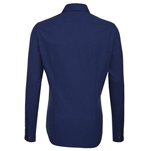 Seidensticker Herren Langarm Hemd Schwarze Rose Slim Fit Hai-Kragen blau kariert 242857.18 Blau