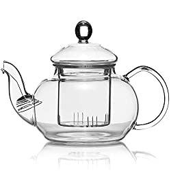 Dimono Mundgeblasene Teekanne mit Teefilter & Teesieb Kanne mit Filtereinsatz aus Glas 600 ml perfekt für Teeblumen