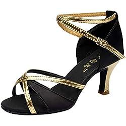 Sandalias De Mujer, Linlink Girl Segmental Latino Dance Zapatos Med-Tacones De SatéN Zapatos Fiesta Tango Salsa Zapatos De Baile