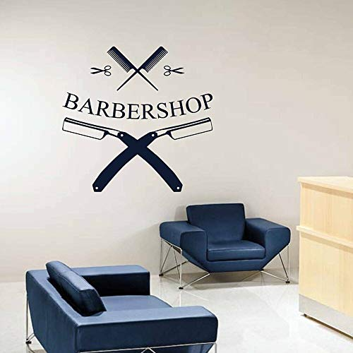 woyaofal Barbershop Shaver Kamm Wandaufkleber Abnehmbares Vinyl Wandtattoo Barber's Wall Fenster PVC Dekore Logo Hair Salon Decals42x42cm
