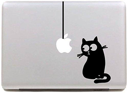 """Preisvergleich Produktbild NetsPower® Elegant Vinyl Decal Sticker Abziehbild Abziehbilder Aufkleber Power-up Kunst Schwarz für Apple MacBook Pro / Air 11"""" 13"""" 15"""" Zoll - Schöne Katze"""