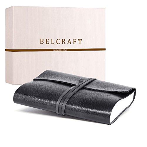 Tivoli A5 mittelgroßes Notizbuch aus recyceltem Leder, Handgearbeitet in klassischem Italienischem Stil, Geschenkschachtel inklusive, Tagebuch A5 (15x21 cm) Schwarz