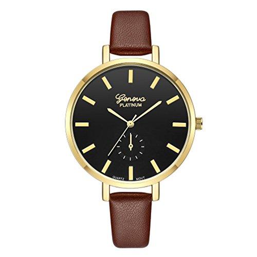 Qmber armbanduhren für herren,Einfache Runde Glas Spiegel Hände Leder Quarz Armband Paar Uhr (D) (Hand-spiegel Runde)