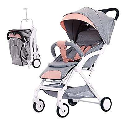 SONARIN Baby Stroller Lightweight and Compact   Portable Buggy Pushchair   Five Point Harness   Great for Airplane(Light Pink)
