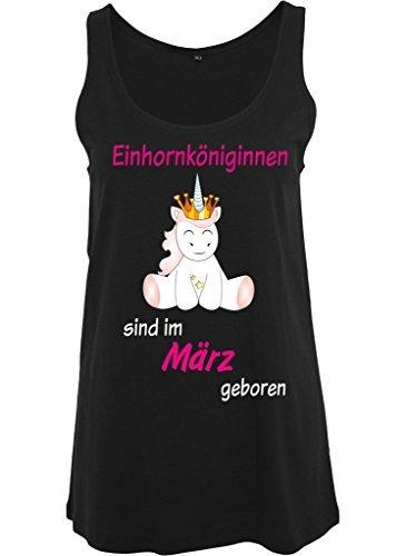 Ladies Damen Top Tanktop Sommertop Damentop Unicorn Einhorn Einhornköniginnen sind geboren Schwarz März