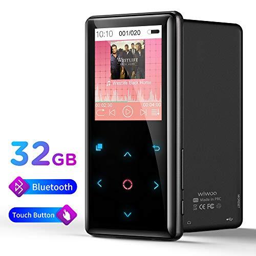Bluetooth MP3 Player Bloothooth 32 GB, Digital Music Player Verlustfreier Sound Hi-Fi-Musik-Player mit Touch-Taste und Atemlicht Kopfhörer FM Radio Voice Recorder, bis zu 128 GB unterstützen
