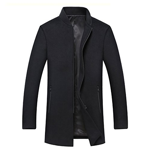 YOUTHUP Herren Wollmischung Mantel Regular Fit Warm Winter Jacke Schwarz M