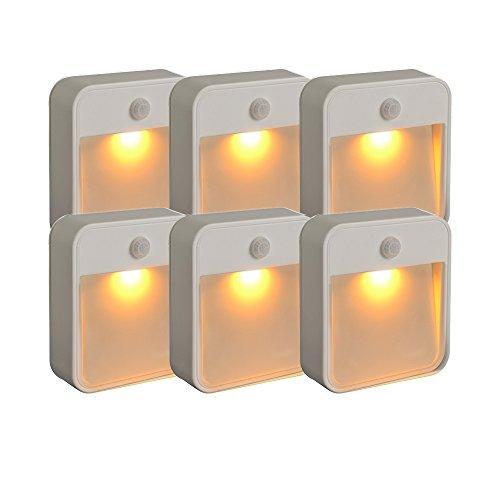 Mr. Beams MB720schlaffreundliche batteriebetriebene Bewegungserkennungs-LED; kleben Sie dieses Nachtlicht mit gelber Leuchte an eine beliebige Stelle, plastik, weiß, 6er-Pack -