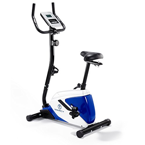 Marcy Azure BK1016 Upright Exercise Bike - Black/White/Blue, One Size Best Price and Cheapest