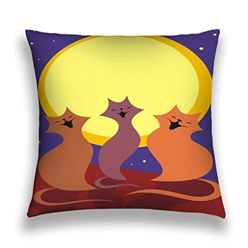 rongxincailiaoke Kissenbezüge Throw Pillow Cover Pillowcase Moon Cats Three March sit roof Full Sing Songs Frame Creative Sofa Home Decorative Cushion Case 18
