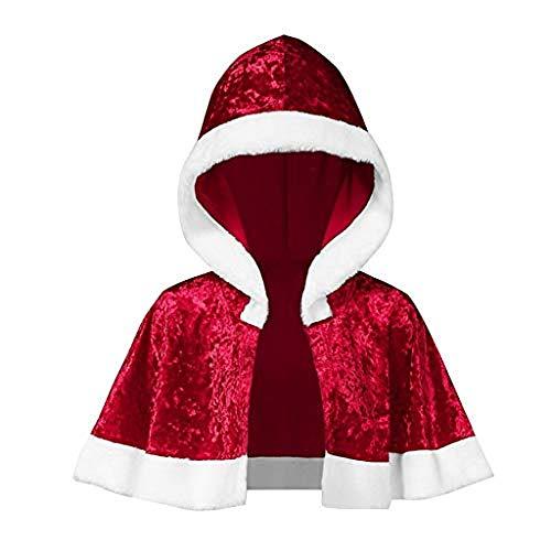 XINAINI Damen Weihnachtsmantel Kapuze Aus Samt - Umhang Weihnachtsmann KostüM Nikolaus Anzug Erwachsenen Santa Claus Cosplay Verkleidung (L,Rot)
