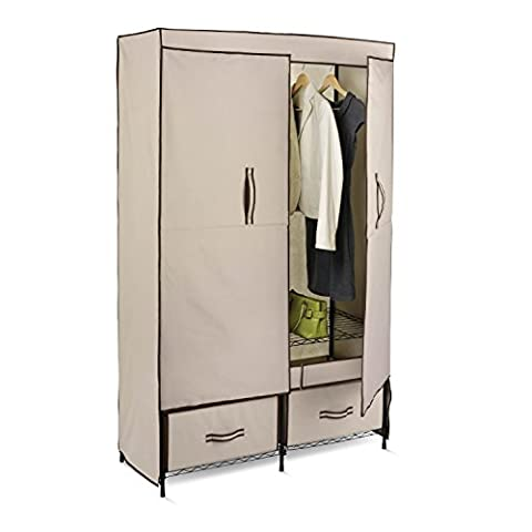 Honey-Can-Do WRD-01274 Double-door wardrobe with (2) drawers, 43-Inch