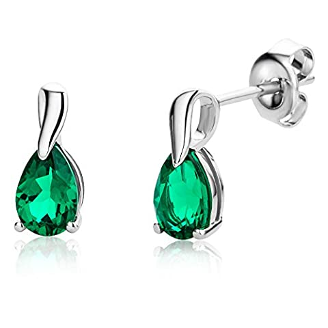 Miore Ladies 9ct White Gold Pear shape Emerald Earrings MG9231E