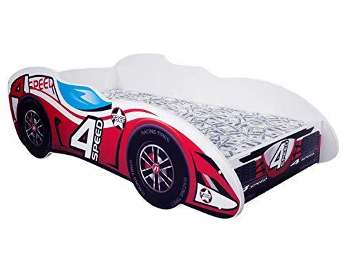 Topbeds Lit pour Enfant Design Voiture F1 Matelas Inclus (4 Speed)