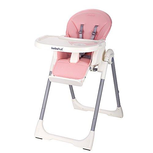 BEBEHUT Kinderhochstuhl Babyhochstuhl Kinderstuhl Babystuhl Hochstuhl verstellbar 1801-D06 Pink