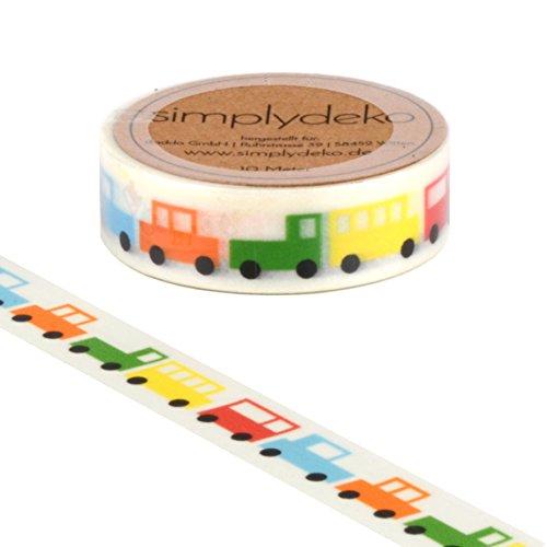 Simplydeko Washi Tape - Masking Tape - Wundervolles Washitape Bastel-Klebeband aus Reispapier - Kinder Auto