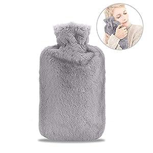 Wärmflasche, otumixx Wärmflaschen 2 Liter mit Super Weichem Plüsch-Bezug Geprüft und Frei Von Schadstoffen Sicher und Warm Hot Water Bottle Länger für Abende für Bauch Rücken und Nacken