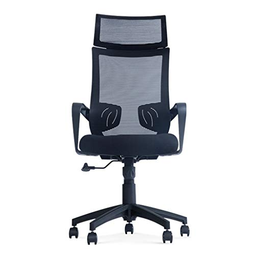 DLT Ergonomischer Verstellbarer Bürostuhl mit Lendenwirbelstütze und 5 Rollen, Computerstuhl Schreibtischstuhl mit Kopfstütze und Armlehne, Sitzhöhe - verstellbar, Schwarz