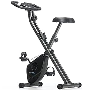 Skandika Foldaway x 1000 Exercise Bike Home Trainer with Hand Pulse Sensors, 8 Stage Vertical Magnetic Resistance LCD Display without Back Rest, Unisex, Foldaway X-1000 (schwarz), black