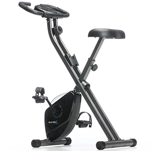 Skandika Foldaway X de 1000Fitness Bicicleta Estática Plegable con sensores de pulso de mano, 8niveles de resistencia magnética, pantalla LCD sin respaldo, unisex, Foldaway X-1000 (schwarz), negro, large