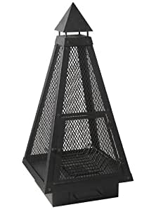Charles Bentley Over 1M Black Large Steel Mesh Pyramid Chiminea Fire Pit Garden Patio Heater