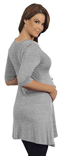 Mesdames Henley Tunique maternité col V à manches 3/4 trapèze coupe de grossesse Gris