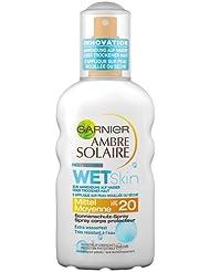 Garnier Ambre Solaire Sonnenschutz Spray Wet Skin / Sonnenspray wasserfest, fettet und klebt nicht - dermatologisch getestet / LSF 20, 1er Pack - 200 ml