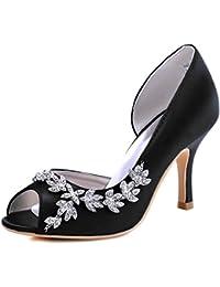 1a7e5aaf9d40 ElegantPark EL-005 Escarpins Femme Strass D orsay Bout ouvert Pompes  Chaussures de Mariage