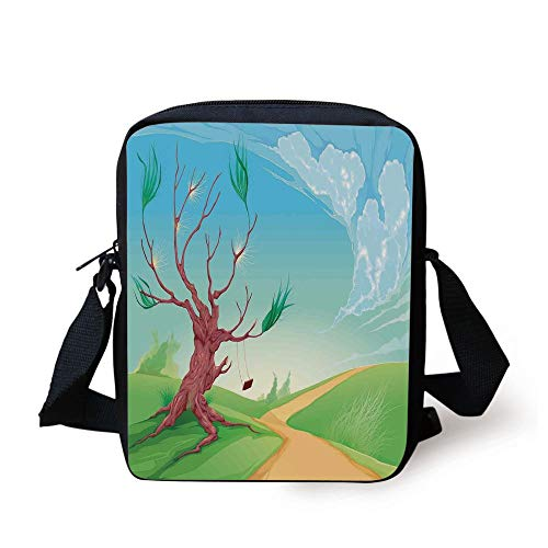 CBBBB Landscape,Romantic Landscape with Tree and A Swing by Road Path in Wind Cartoon Print,Brown Blue Green Print Kids Crossbody Messenger Bag Purse