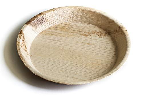 Hochwertige Palmblatt Geschirr von Einweg-Grün I Palm Plate Runde Platten I Bio Einweg Geschirr biologisch abbaubar Party Geschirr Einweggeschirr kompostierbar (20 cm (50 Stücke))