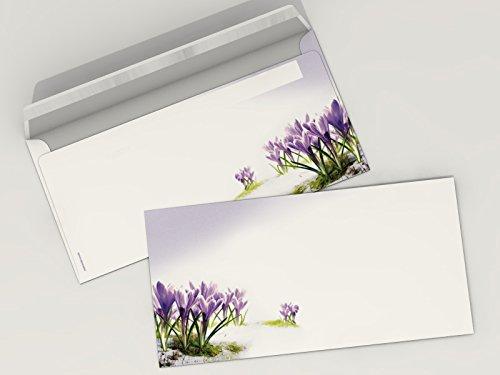 Bedruckte Briefumschläge 'Krokusse DIN lang für Laser/Ink/Copy/Hand-Post zertifiziert auf beiden...
