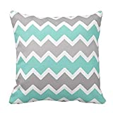 Aqua Blue Gray Grey White Zig Zag Chevron Pattern Decorative Throw Pillow Case Cushion Cover for Couch Sofa Bed,Printed Square Cotton Pillowcase,18X18 Inch