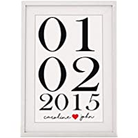 Valentines Day Or Wedding Anniversary Present For Couples | Name And Date Framed Print With Mount | White, 12x10 Inch