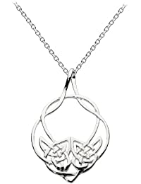 Heritage Women's Sterling Silver Celtic Large Open Woven Necklace of Length 18 inch