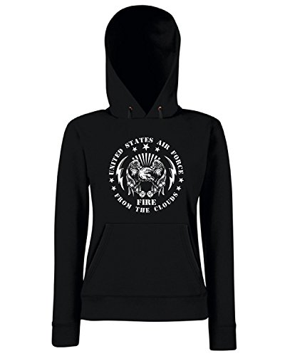 T-Shirtshock - Sweats a capuche Femme TM0677 united states air force fire from the sky Noir