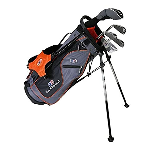 'US Kids Golf Ultralight Set 51, 125 cm - 132 cm, Age 7-9 ans, left handed, Golf clubs for Kids, Clubs de Golf pour enfants/adolescents, Fairway Driver, Iron/Fer 6,8, Pit Ching Wedge, Putter, Bag, Maximum Distance And Control, Soft Feel, Lightweight, Stainless Steel