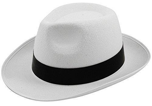 Al Capone gánster sombrero Trilby Mob blanco Michael Jackson Estilo Fancy  Dress b5177ad3903