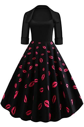 Axoe Damen 60er Jahre Kleid Rockabilly mit Ärmel Cocktailkleid Schwarz Übergröße 48