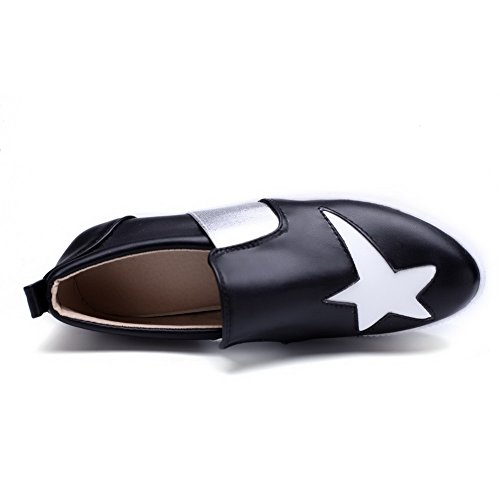 Pu Em Allhqfashion Pretos Salto Sapatos Toe Bombas Senhoras Tração Couro Rodada Baixo qaRx1wf