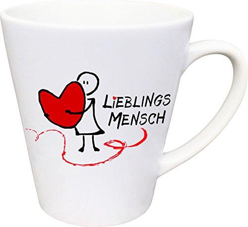 Cadouri - LIEBLINGSMENSCH Tasse Kaffeetasse Kaffeebecher Latte Tasse (Herz) - konische Form (Kakao Freunden)