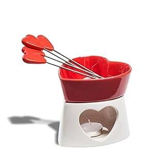 Fondue en chocolat en céramique en forme de cœur rouge 4 piques