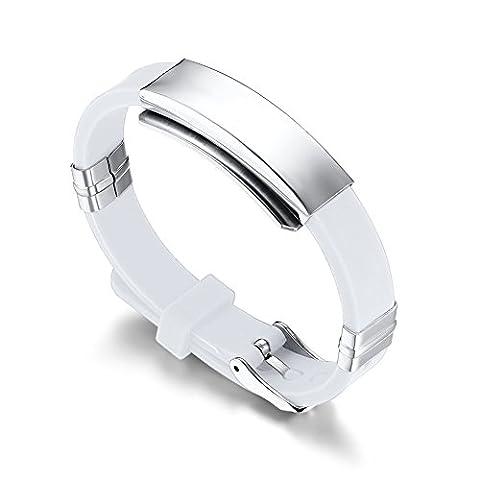22.7 cm LianDuo Silicone Watch Band Wrist Bracelet Bangle White For Men,Free engraving