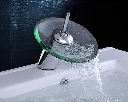 G-Baum Glas Kopf Wasserfall Bad Wasserhahn, Bad Wasserfall Wasserhahn zeitgenössische Chrom Glas Vanity Vessel Waschbecken poliert Chrom