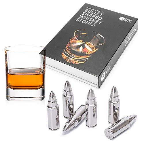 6 Patronen Whisky Steine, Bullet Shaped, Premium Edelstahl - Wiederverwendbare Eiswürfel Kühlsteine, Eiszange +Elegantes Lederetui - Whisky Champagner Wodka| Geschenkset Männer Weihnachten Bar Zubehör