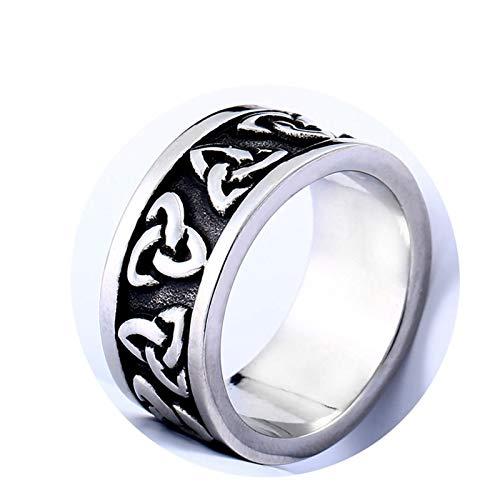 KnBoB Edelstahl Herren Ring Keltischen Knoten Schwarz Silber Partnerringe Gothic Schwarz Silber Ring Größe 67 (21.3) (Mondstein Ring Claddagh)
