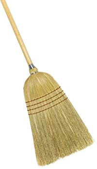 Weiler 44009 Corn Fiber Light Industrial Upright Broom with Wood Handle, 1-1/2