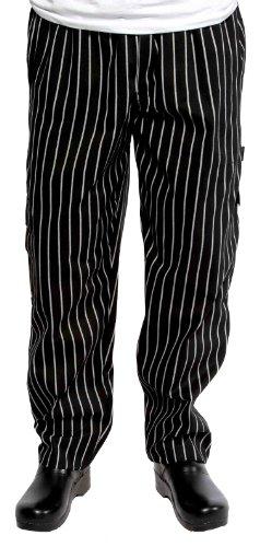 Chef Works schwarz und weiß chalkstripe J54Cargo Pants, schwarz / weiß, Small (Kreide-streifen-hose)