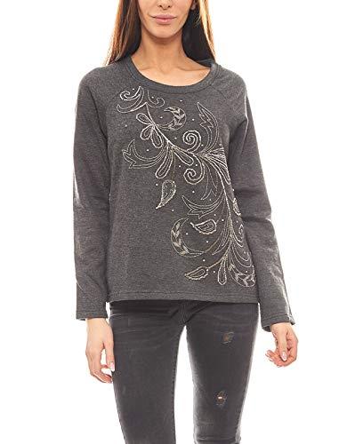 RICK CARDONA Pullover Damen-Sweater mit Schmuck-Besatz Pulli Grau, Größenauswahl:34